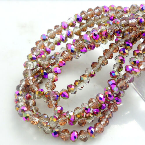 Beads -  New Colors Rondelle Faceted Crystal Glass Loose Spacer Beads 3mm4mm6mm8mm