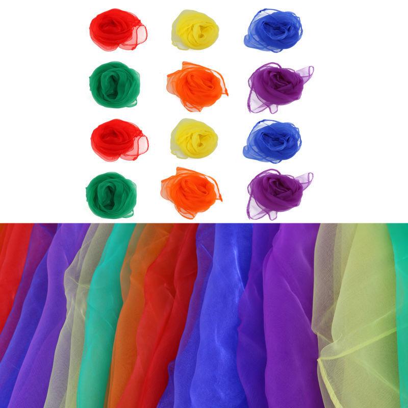 12Stk Chiffontücher Tanztücher jonglieren Zauberei Rhythmiktüch Seidentücher Set