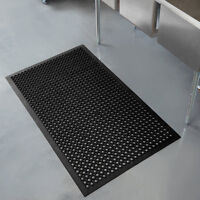 "Black Anti-Fatigue Rubber Floor Mat with Bevel Edge - 1/2"" Thick"