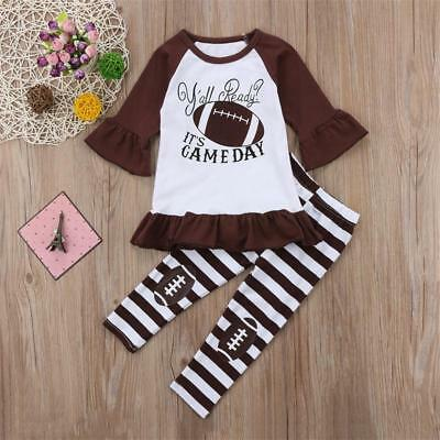 Girls Football Outfits (NEW Football Girls Ruffle Tunic Striped Brown Leggings Outfit Set 3T 4T 5T 6)