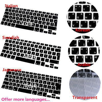 "Multi language Silicone Keyboard Cover for MacBook Air Pro Retina Mac 13 15 17"""