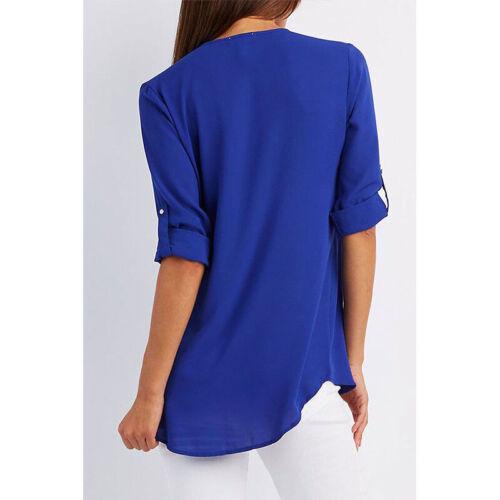 Summer Women V-Neck Zipper T Shirt Loose Casual Blouse Short Sleeve Tunic Tops 4
