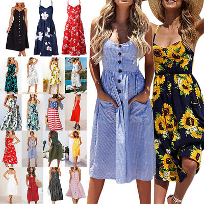 US Womens Summer Vacation Beach Dress Button Ladies Long Sundress with Pockets - Ladies Clothing Dresses