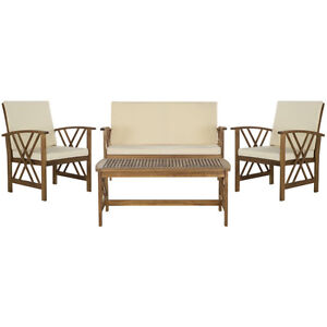 4 Piece Seating Group with Cushions made of acacia
