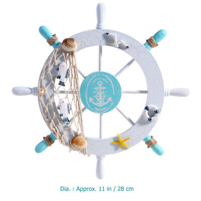 Wood Blue Nautical Beach Boat Ship Steering Wheel Fishing Net Room Wall Decor US