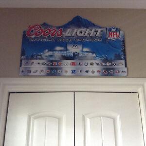 Coors Light NFL tin sign