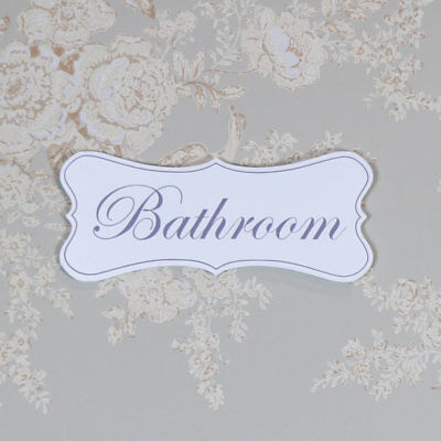 Pretty white wooden hanging door plaque sign shabby vintage chic bathroom