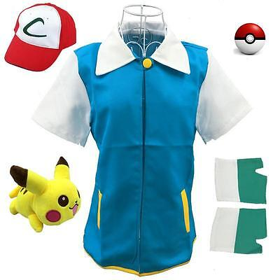 Japan Anime Pokemon Cosplay Pocket Monster Ash Ketchum Trainer Costume (Pokemon Ash Ketchum Kostüme)