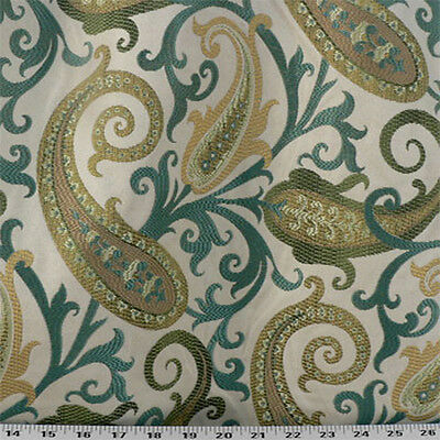Woven Paisley Scroll - Drapery Upholstery Fabric Woven Jacquard Paisley Scrolls - Turquoise Multi