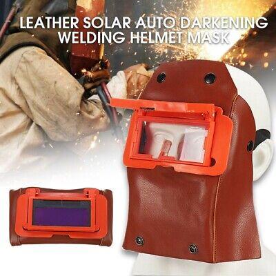 Leather Welding Helmet Mask W Solar Auto Darkening Filter Lens Welder Hood 1pc