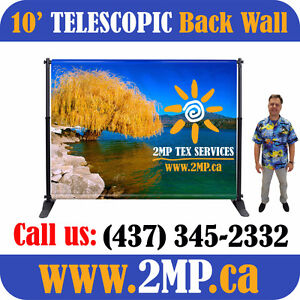 10' Telescopic Step-n-Repeat Backdrop Display Trade Show Wall
