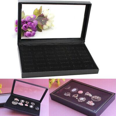 New 36 Slots Foam Insert Rings Display Black Velvet Jewelry Storage Case Box