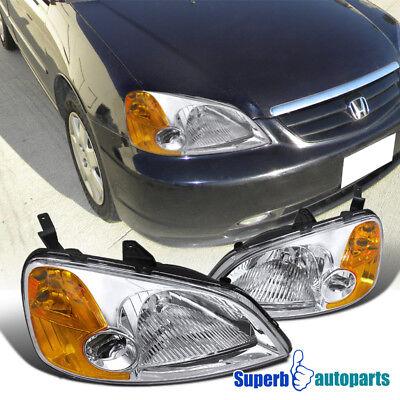 For 2001-2003 Honda Civic EX LX JDM Headlights Chrome/ Clear Head Lamps