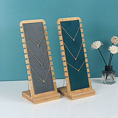 Bamboo Jewelry Exhibit Stand Necklace Pendant Chain Holder Organizer Rack Wooden