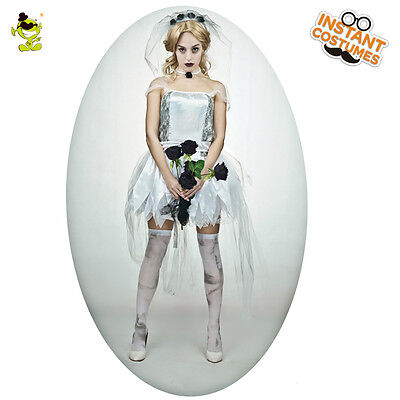 Adult's Sexy Hot Bride Costume Female's Zombie Black Corpse Dress Ghost - Hot Zombie Costumes