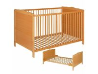 Fab beech/pine Cot Bed baby/toddler (0-8) inc Foam Mattress - exc cond!!