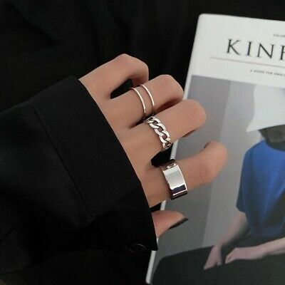 Fashion Silver Adjustable Rings 3pcs Set Women Accessories Ring Gift