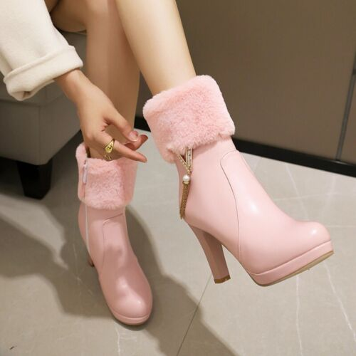 Details about  /Women/'s Ankle Boots Side Zipper Chunky Heel Round Toe Motor Shoes Casual 34//43 D