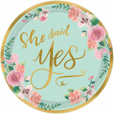 Bridal Shower Plates (Bridal Shower Table Decorations Disposable Paper Plates Small x 8 She Said)