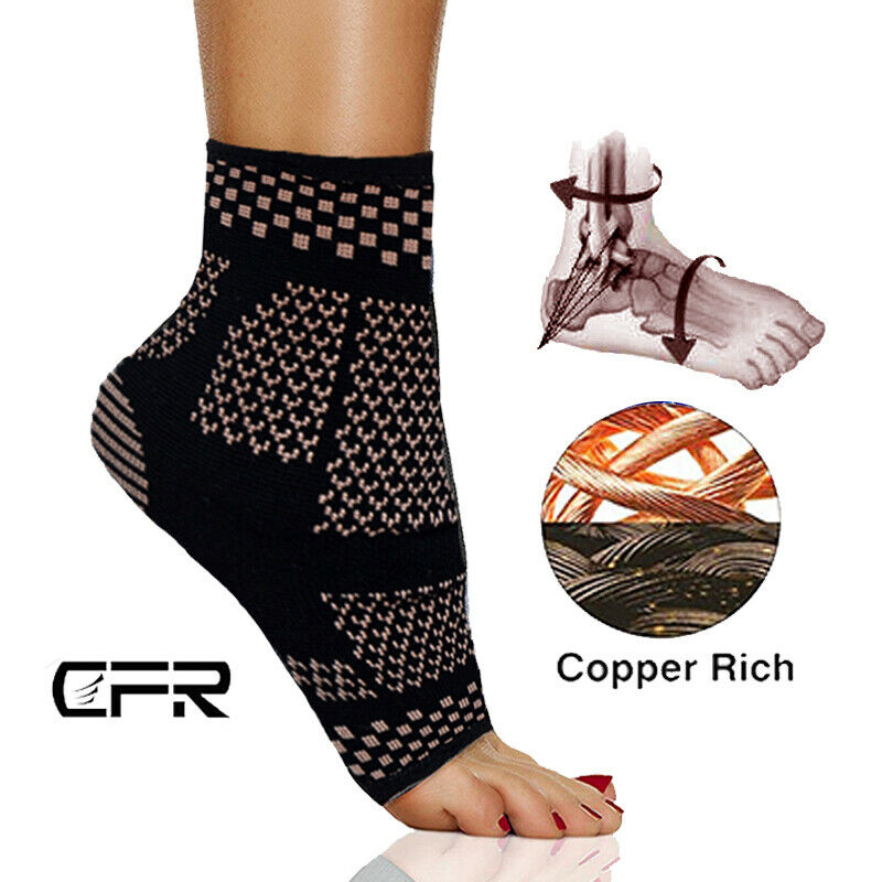 Copper Ankle Support Brace Compression Sleeve Foot Pain Runn