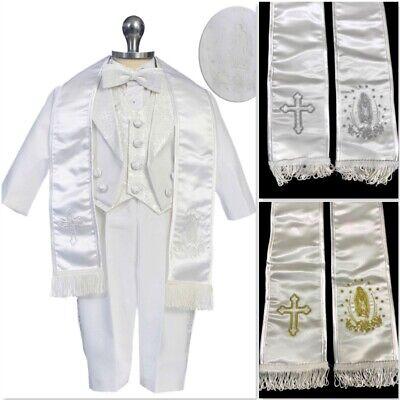 Baby Boy Christening Baptism White Suit/Tuxedo 6 piece Set (Sizes 3 Mo-7 Yr)