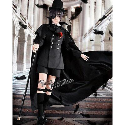 Black Bulter Ciel Kuroshitsuji Phantomhive Cosplay Kostüm Manga Schwarz Uniform