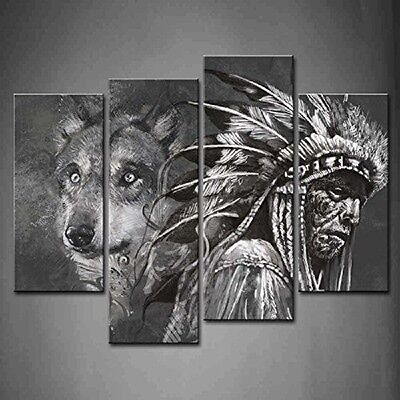4 Panel Wall Art Black White Wolf Painting Picture Print Canvas Home Decor Gift