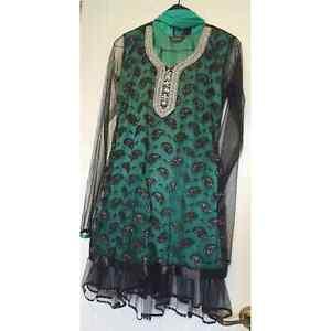 Unique green and black anarkali Indian suit dress salwar kameez