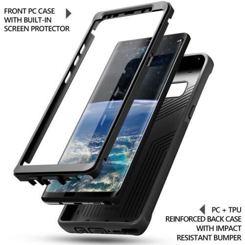 For Galaxy Note 8 (2017) Case Black Poetic【Revolution】Built-in-Screen Protector