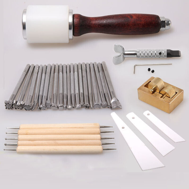 31pcs/set Manual Leather Carving Stamp Hammer Embossing Beveler Oil Painting Box