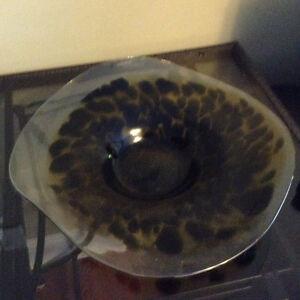 Handmade from Poland glass centre piece bowl