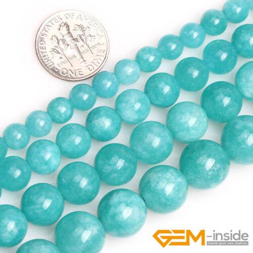 Blue Amazonite Color Jade Gemstone Round Loose Spacer Beads