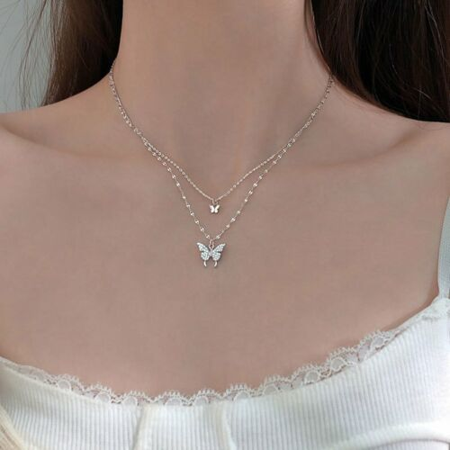 Charm 925 Silver Double Butterfly Zircon Necklace Clavicle Women Jewelry Gifts 5