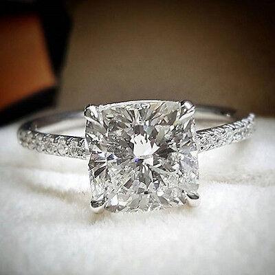 1.60 ct. Cushion Cut Natural Diamond U-Pave Engagement Ring GIA H, VS2 14k NEW