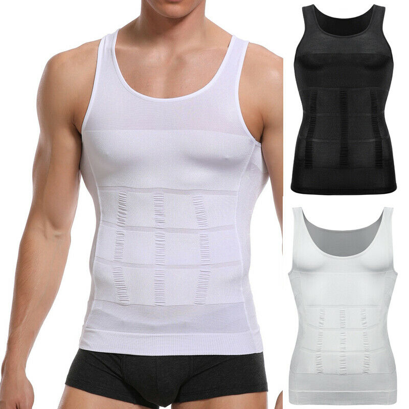 Mens Slimming Body Shaper Vest Abs Abdomen Compression Shirt
