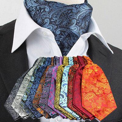 Ascot Tie - 8 Styles LJ07 Western Paisley Men 100% Silk Ascot Tie Cravat Scarfs Formal Party