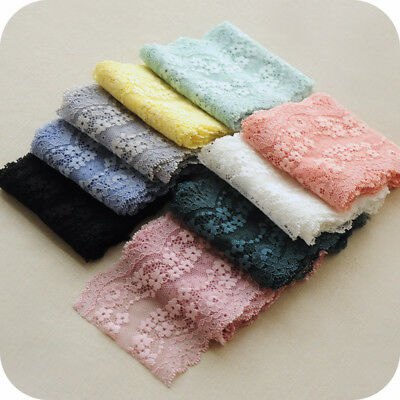 5yds Floral Embroidered Lace Trim Soft Gauze Elastic Fabric Skirt 3.54'' Width  ()