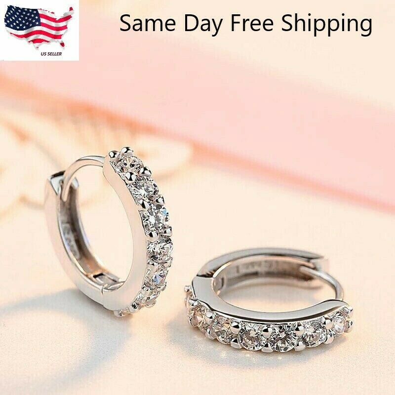 925 Sterling Silver Plated CZ Cubic Huggie Hoop Small Earri