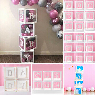 Letter A-Z Cube Transparent Gift Boxes Kid Birthday Baby Shower Party