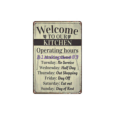 Metal Tin Sign welcome to our kitchen for Bar Pub Home Vintage Retro Poster