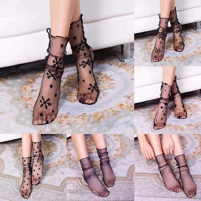 Trendy Socks (Trendy  Women Girls Sexy Ruffle Ankle High Socks Mesh Lace Fish Net Short)