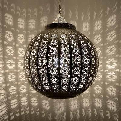 Orientalische Hängelampe Marokko Metall Stimmungslicht Modern Silber Neu