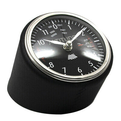 Altitude Meter Dashboard Desk Clock Aluminum Black Leather Aviation Plane Decor