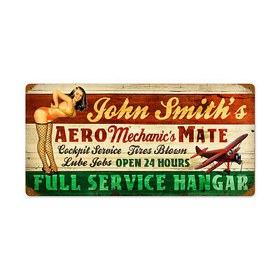 "Personalized Vintage Pinup Aero Mechanic's Mate Aviation Steel Sign 24"" x 14"""