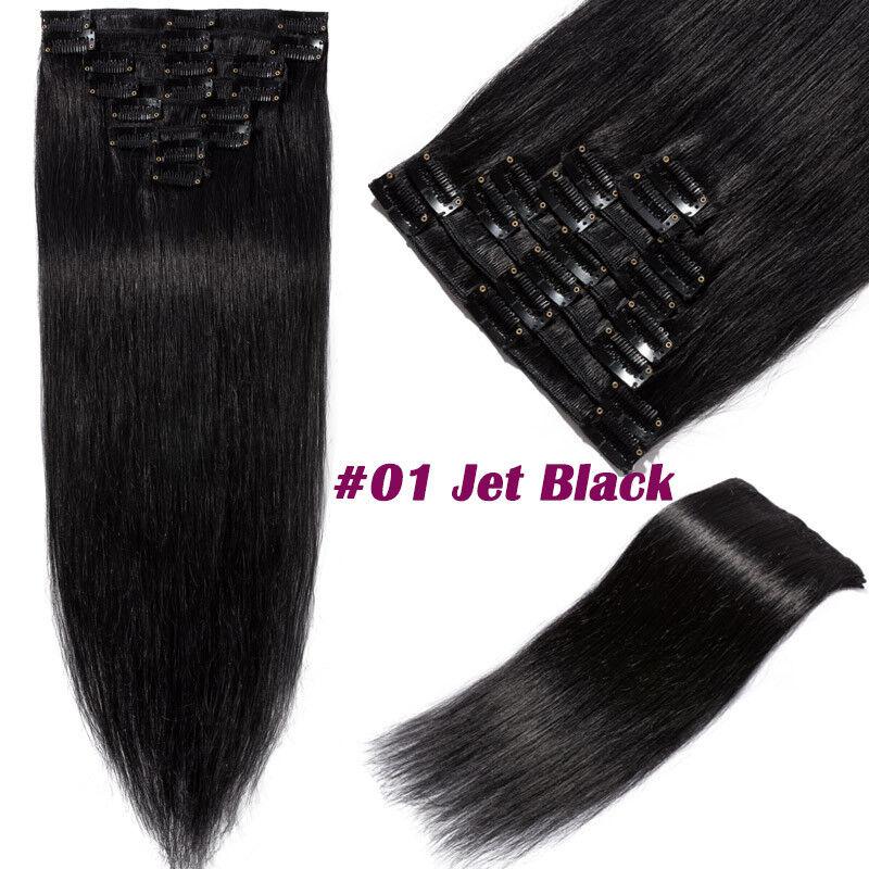 50CM 60CM Echthaar Clip In Extensions Remy Haar Haarverlängerung 8 teilig Set DE #01 Tiefschwarz