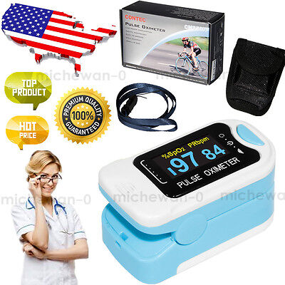 Usa Oled Finger Tip Pulse Oximeter Blood Oxygen Spo2 Pr Patient Monitor Cases