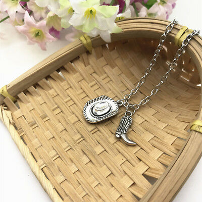 Country Western Cowboy Hat Necklace Cowboy Boot Barrel Racing Rodeo Dirt Kicker