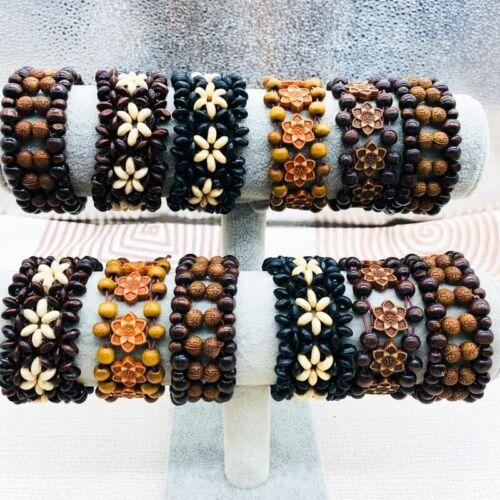 12pcs Vintage Wooden Beads Elastic Bracelets Bangle Cuff Fashion Jewelry Gifts
