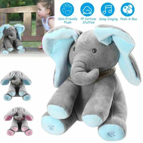 Peek-A-Boo Elephant Stuffed Plush Toy Animated Music Cute El