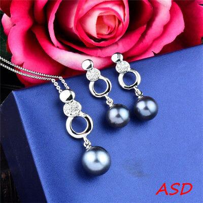 Pearl Link Silver Metal Steer Tiny Cubic Zirconia Necklace Earrings Jewelry Set Cubic Zirconia Silver Metal